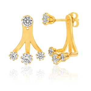 9ct Yellow Gold Silver Filled Cubic Zirconia Ear Jacket Stud Earrings