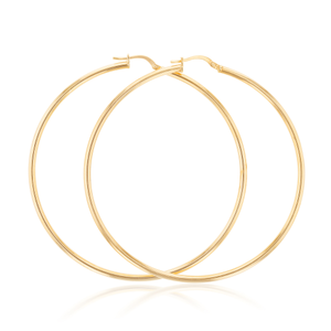 9ct Yellow Gold Silver Filled 60mm Plain Hoop Earrings