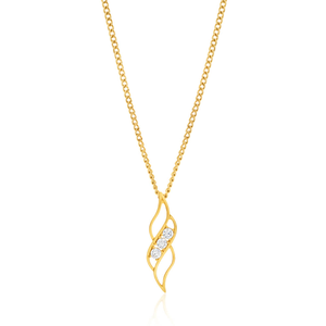 9ct Yellow Gold Silver Filled Zirconia Pendant