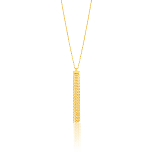 9ct Yellow Gold Silver Filled Tassle Pendant With 45cm Chain