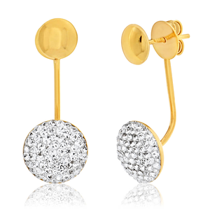 9ct Yellow Gold Silver Filled Crystal Ear Jacket Stud Earrings