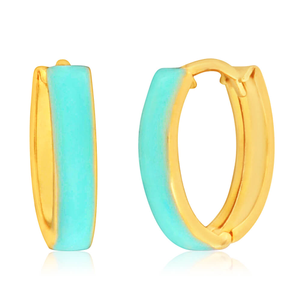9ct Yellow Gold Silver Filled Turquoise colour Enamel Hoop Earrings