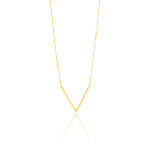 9ct Yellow Gold Silver Filled V Pendant With 45cm Chain