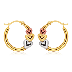 9ct Yellow Gold-Silver Filled Hoops Triple Love Hearts Multitones