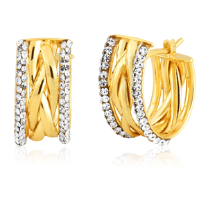 9ct Yellow Gold Silver Filled Crystal Braid Hoop Earrings