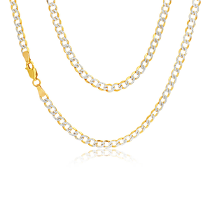 9ct Yellow Gold Silver Filled Curb 45cm Chain