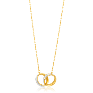 9ct Yellow Gold Silver Filled 45cm Entwined Circle of Life Pendant