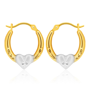 9ct Multi Tone Gold Silver Filled Hoop Earrings With Hearts