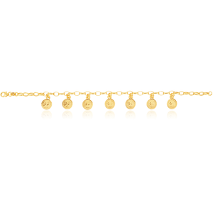 9ct Yellow Gold Silver Filled Coin Charms Bracelet in 19cm