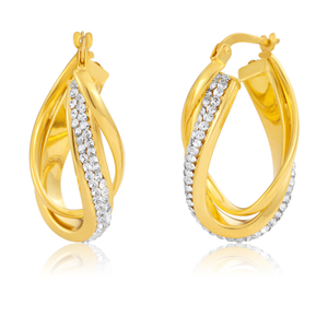 9ct Yellow Gold Silver Filled Crystal Oval Double Hoops Earrings
