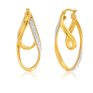 9ct Yellow Gold Silver Filled Stardust double Twist Hoops Earrings