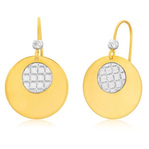 9ct Yellow Gold Silver Filled Stardust Disc Drop Earrings