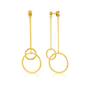 9ct Yellow Gold  Silver Filled Dangling Double Ring Drop  Earrings