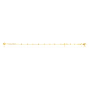 9ct Yellow Gold Filled 19cm Cross & Beads Bracelet