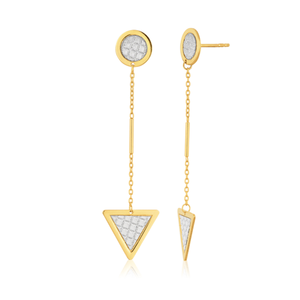 9ct Yellow Gold Silver Filled Stardust Dangling Triangle Drop Earrings