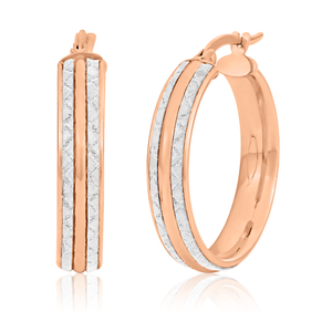 9ct Rose Gold Silver filled  stardust Hoops