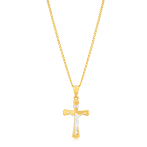 9ct Yellow & White Gold Silver Filled Crucifix