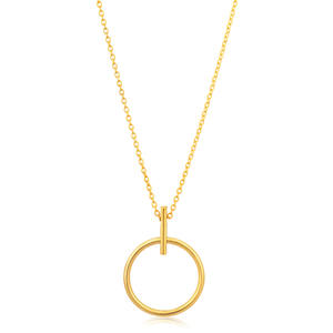9ct Yellow Gold Silver Filled Circle Pendant with 45cm chain