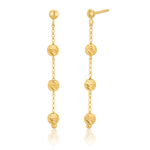 9ct Yellow Gold Silverfilled Beads Earrings