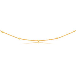 Silverfilled 9ct Yellow Gold Fancy Beads 55cm Chain
