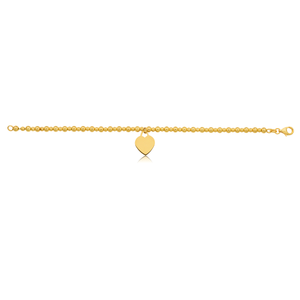 Silverfilled 9ct Yellow Gold Beaded Heart Charm 19cm Bracelet