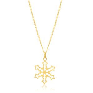 Silverfilled 9ct Yellow Gold Snow Flake Pendant