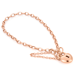 Silverfilled 9ct Rose Gold Heart Padlock 19cm Bracelet