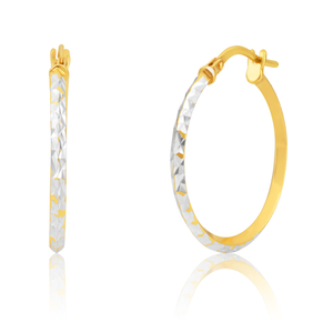 9ct Yellow Gold Silver Filled 20mm Hoop Earrings with diamond cut feature