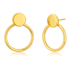 9ct Yellow Gold Circle Silverfilled Stud Earrings