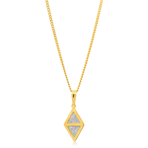 9ct Yellow Gold Filled Stardust Diamond Shape Pendant