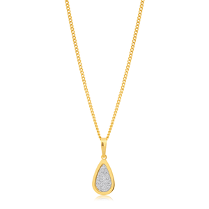 9ct Yellow Gold Filled Stardust Teardrop Pendant