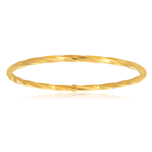 9ct Yellow Gold 4mm Silverfilled 65mm Twist Bangle