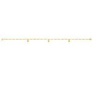 Gold Filled 4 Heart Charm 27cm Anklet