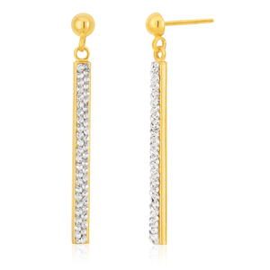 Silverfilled Drop Bar Earring With Ball Stud