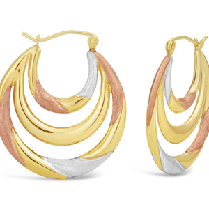 9ct Three-Tone Colour Gold Filled Twist Creole Hoop Earrings