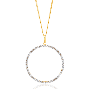 9ct Yellow Gold Filled 30mm Round Crystal Pendant