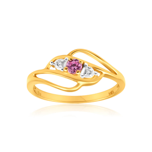 9ct Yellow Gold Diamond + Pink Cubic Zirconia Ring