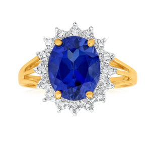 9ct Yellow Gold Oval Created Tanzanite + Diamond Ring