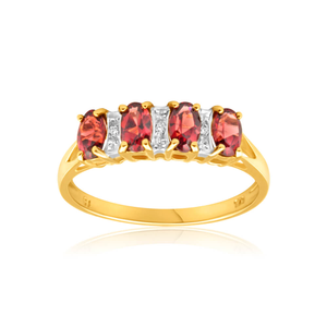 9ct Charming Yellow Gold Diamond + Garnet Ring
