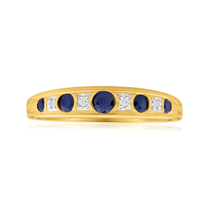 9ct Yellow Gold Graduated Natural Sapphire and Diamond x 4 Ring