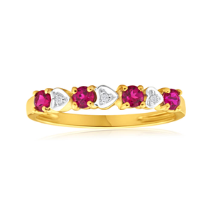 9ct Yellow Gold 4 Created Ruby + 3 Diamond Ring