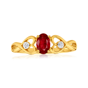9ct Yellow Gold Oval Created Ruby + 2 Diamond Ring
