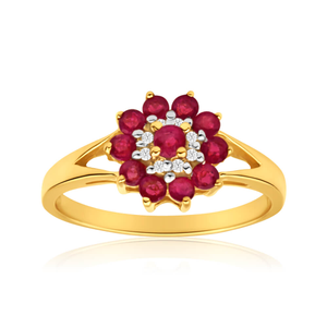 9ct Elegant Yellow Gold Diamond + Ruby Ring
