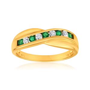 9ct Yellow Gold Created Emerald + Diamond Cross Over Ring