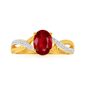 9ct Dazzling Yellow Gold Diamond and Garnet Ring