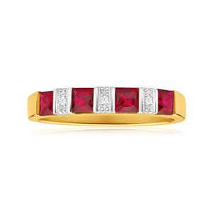 9ct Yellow Gold 4 Created Ruby + Diamond Ring