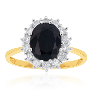 9ct Dazzling Yellow Gold Diamond + Natural Sapphire Ring