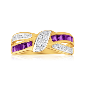 9ct Yellow Gold Amethyst and 10 Diamond Cross Over Ring
