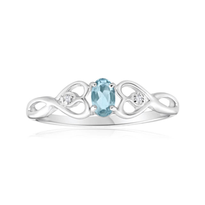 9ct White Gold Oval Cut Aquamarine + Diamond Ring