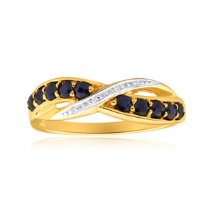 9ct Yellow Gold Gorgeous Diamond + Natural Sapphire Ring